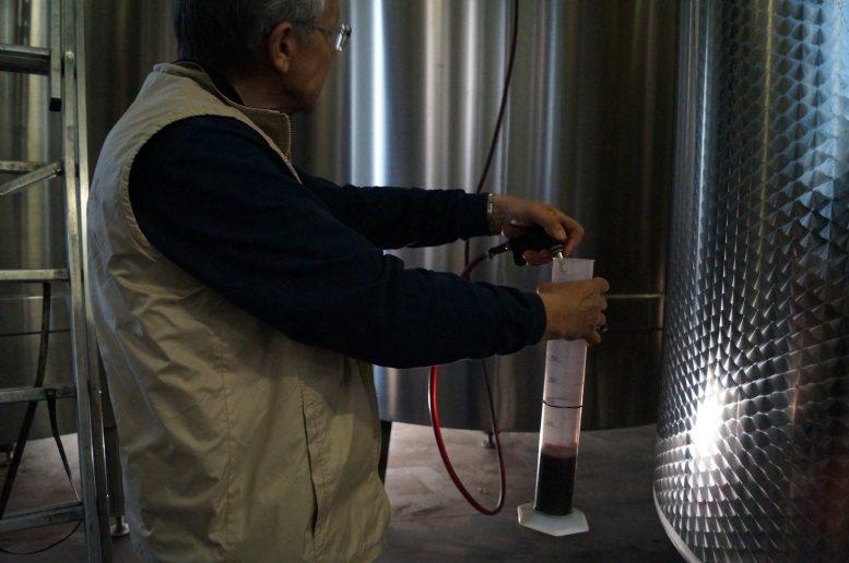 prélèvement des vins à la propriété concours de Bordeaux